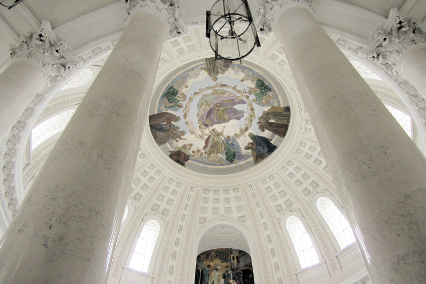 White marble interior of Dom St. Blasius (St. Blaise's Cathedral), St. Blasien, Germany