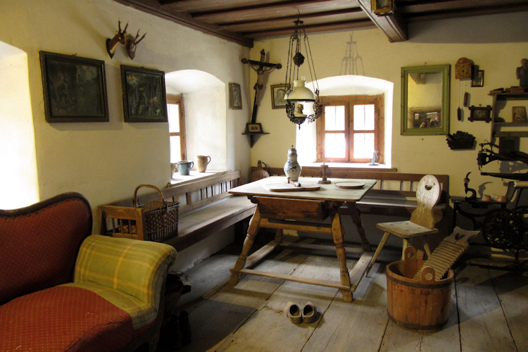Interior of a Bavarian farmhouse at the Museumsdorf Bayerischer Wald, Tittling, Germany