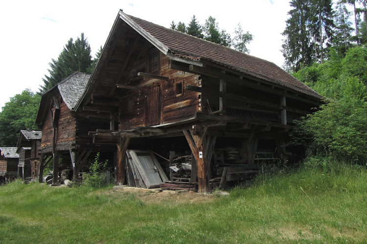 Historical outbuildings at Museumsdorf Bayerischer Wald, Tittling, Germany