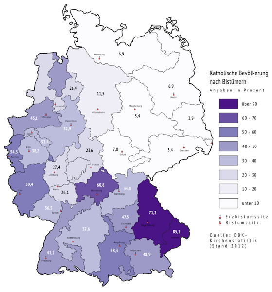 Percentage of Catholics by diocese in Germany, 2012 (katholische Bevölkerung nach Bistümern)