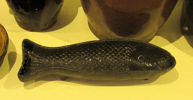 A fish-shaped pan at Museumsdorf Bayerischer Wald