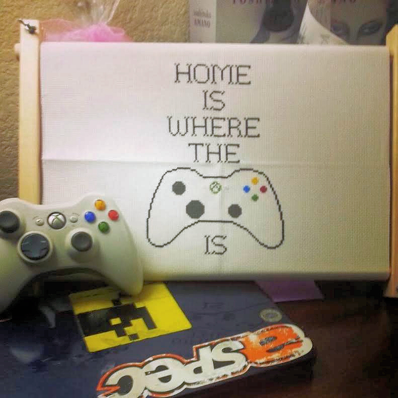 Elena Dunkle's cross-stitch, Home is where the PS4 Controller is