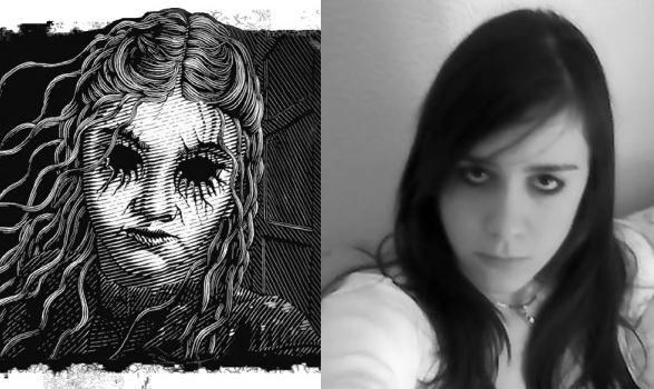 Illustration from THE HOUSE OF DEAD MAIDS beside a photo of my daughter Valerie