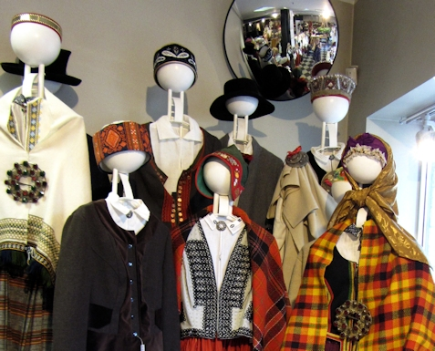 Costume display in a shop in Riga, Latvia